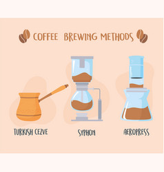 Different coffee brewing methods turkish syphon vector