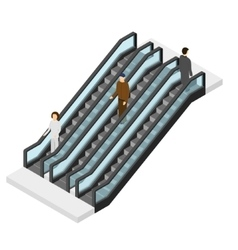 Escalator with People Isometric View vector