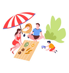 Family on picnic eating food under umbrella vector