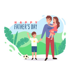 Father day happy dad with son daddy vector