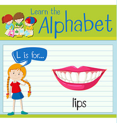 Flashcard letter L is for lips vector
