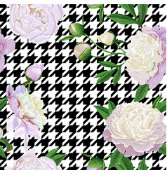Floral seamless pattern with white peonies vector