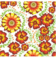 flowers seamless pattern green vector image