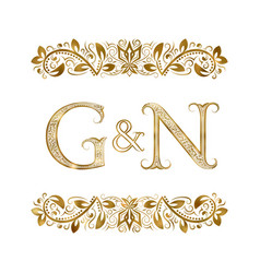 G and n vintage initials logo symbol vector