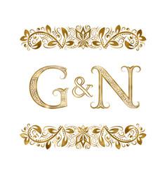 G and n vintage initials logo symbol vector