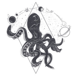 geometric an octopus and vector image