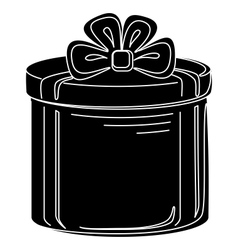 gift box round silhouette vector image