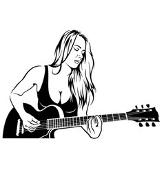 Girl rock guitarist vector