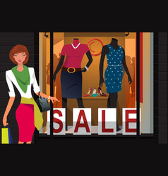 girl with shopping bags at mall vector image