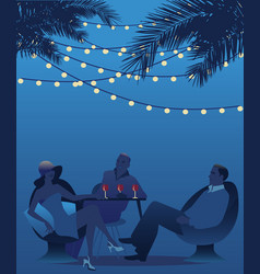 Group of three drinking red wine under the palms vector