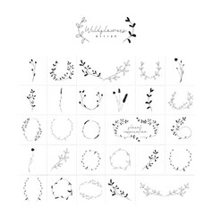 hand drawn floral frames wreaths branches vector image