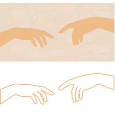 Hand of god the creation adam vector