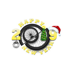 Happy new year 2019 and bicycle wheel vector
