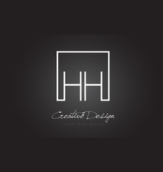 Hh square frame letter logo design with black and vector