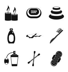 Hygienic thing icons set simple style vector