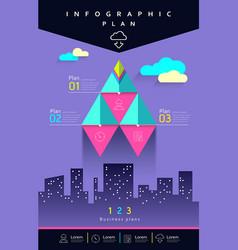 info graphic business triangle rockets vector image