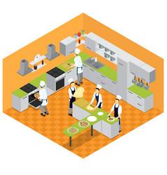 isometric italian restaurant kitchen concept vector image
