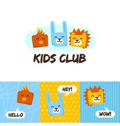 kids club logo with animals cute kindergarten vector image