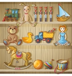 Kids Toys On Shelves Composition vector