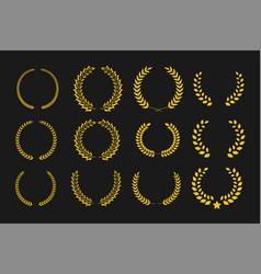 laurel wreaths set winner symbol for vector image