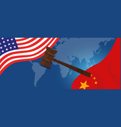 Law legal case trade tension or trade war between vector