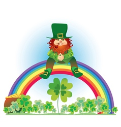 leprechaun and rainbow vector image