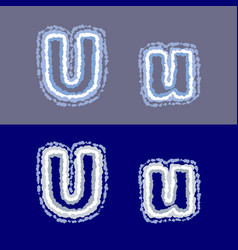 letter u on grey and blue background vector image