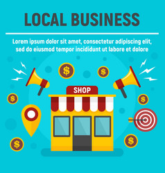 Local business shop concept banner flat style vector