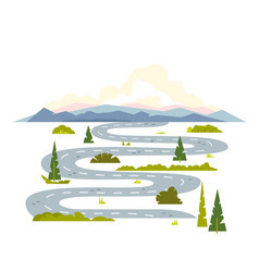 Long winding road landscape vector