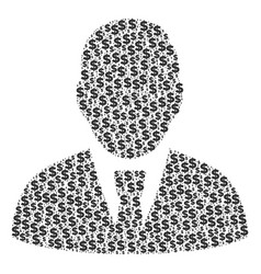 manager collage of dollar and dots vector image