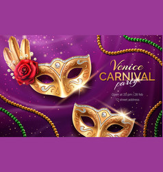 mardi gras carnival invite with mask and beads vector image