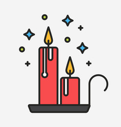 Melting magical candles with stars line vector