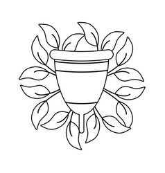 Menstrual cup female with natural leafs vector