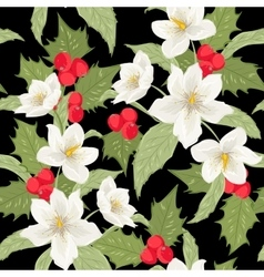 Mistletoe holly berry Christmas rose pattern black vector image