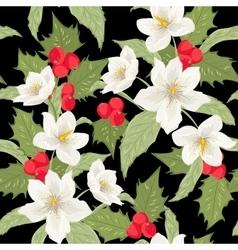 Mistletoe holly berry Christmas rose pattern black vector