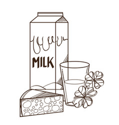 monochrome glass of milk with package and piece vector image
