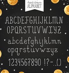 narrow hand drawn font vector image
