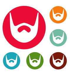 Neat beard icons circle set vector