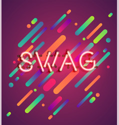 Neon word for advertising with colorful background vector