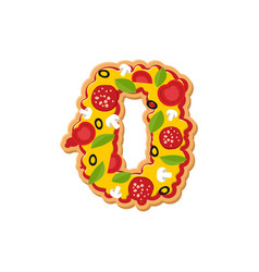 Number 0 pizza font italian meal alphabet numeral vector