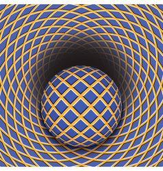 Optical of the ball is rolling into a hole vector