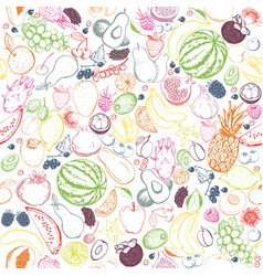 outline fruits seamless pattern vector image