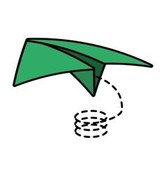 Paper plane traveling toy line dotted vector