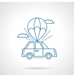 Parachute with car flat line icon vector