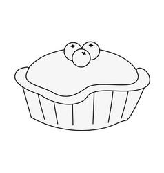 Pie with cherry pastry icon image vector