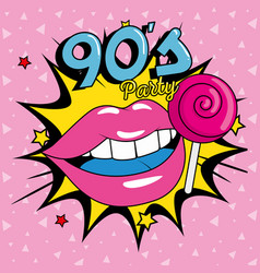 Poster party with lips and lollipop nineties vector
