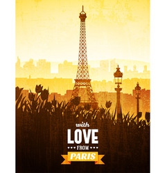 poster with views paris vector image