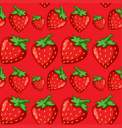 red strawberry seamless pattern vector image