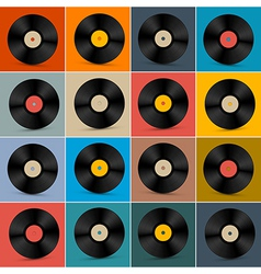 Retro Vintage Vinyl Record Disc Set on Colorful vector image