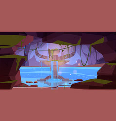 Rocky cave with ancient altar and flowing water vector